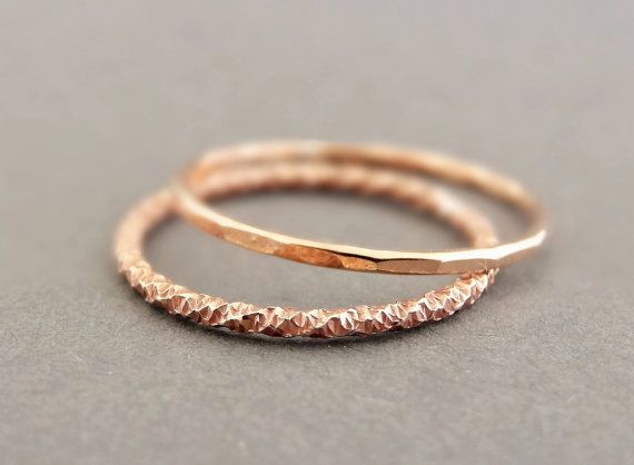 Rose Gold Stack Rings Delicate thin gold thumb ring Mothers Day Gifts Super Thin Stackable Midi Rings - Knuckle Ring