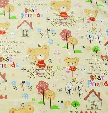 Cotton fabric with fun bears 1 yard 1m children fabric for Childrens cotton fabric by the yard