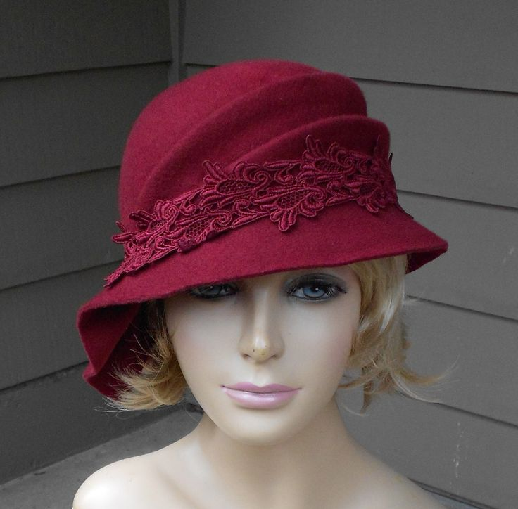 Sophia, Velour Fur Felt Cloche millinery hat with side draped pleats, color Maroon by LuminataCo on Etsy https://www.etsy.com/ca/listing/500531085/sophia-velour-fur-felt-cloche-millinery