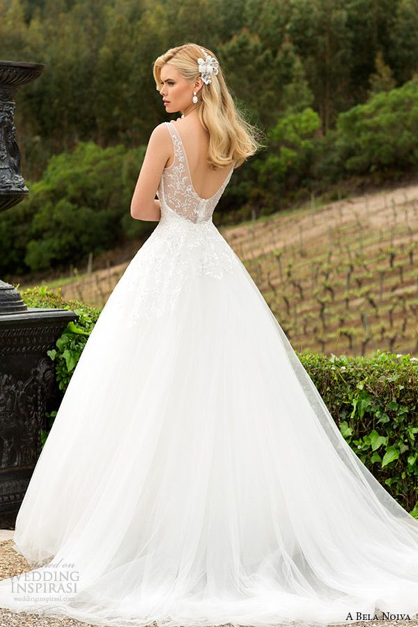 a bela novia 2015 wedding dress illusion strap low cut back a line bridal ball gown #ballgown #weddingdress #weddings