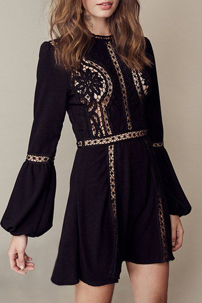 Hollow Out Round Neck Long Sleeve Dress