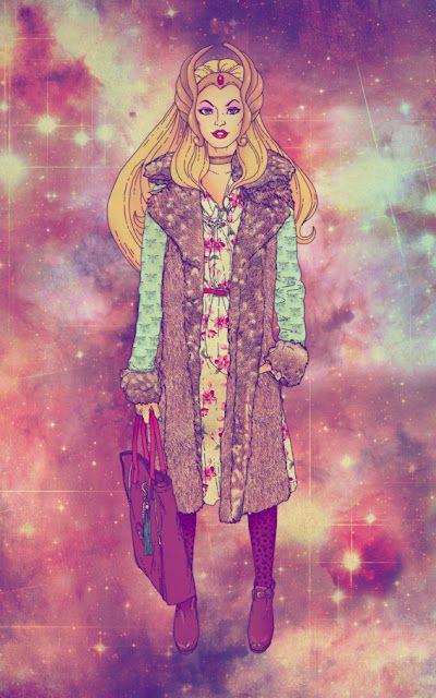 She-Ra by fab ciraolo. Love the colorful twist btn childhood & adulthood, fashion & fantasy.