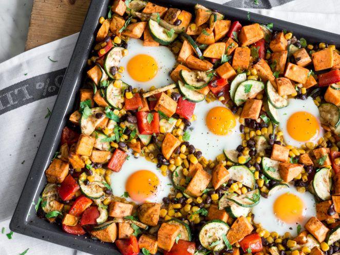 Alles von einem Blech - Süßkartoffeln und Ei