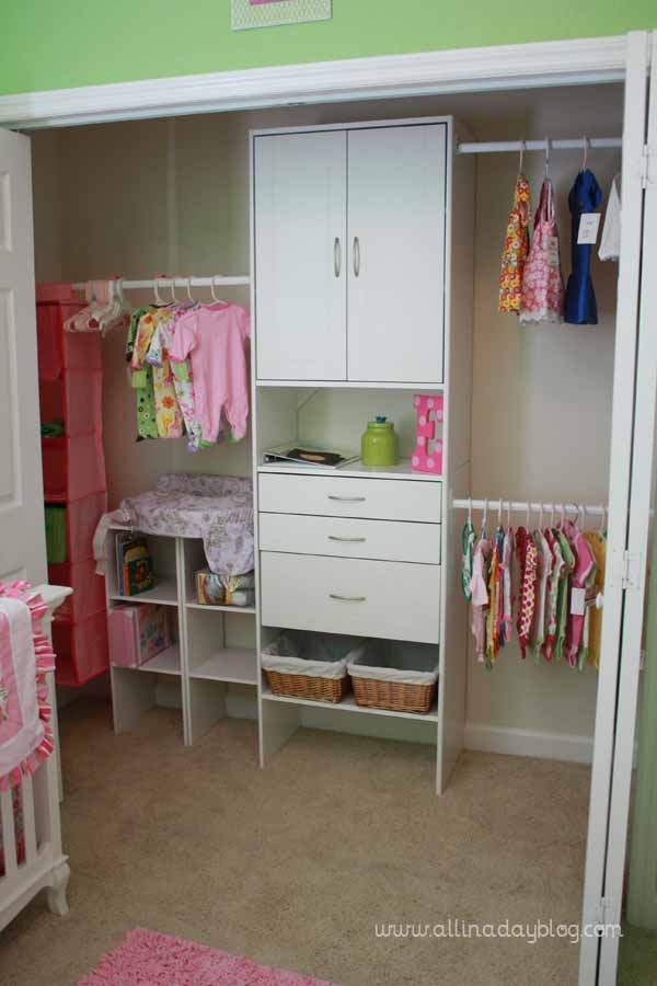 reorganized closet with shelving to create more space kids closet