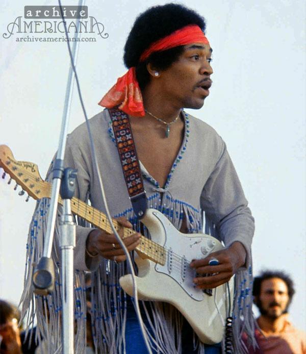 Jimi Hendrix at Woodstock in 1969