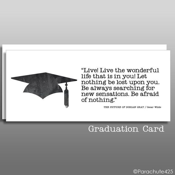 Oscar Wilde Quote, Graduation Card, inspiration quote, high school grad, college graduation, graduation quote, congratulations, money card