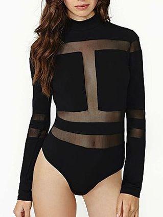 Black High Neck Mesh Plane Bodysuit With Long Sleeves - Fashion Clothing, Latest Street Fashion At Abaday.com