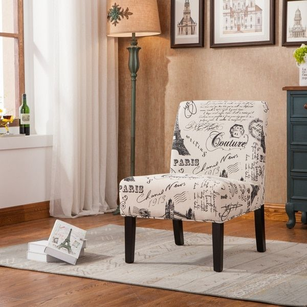 Goodale Oversized Paris-Themed Linen Upholstered Accent Chair - 19163474 - Overstock.com Shopping - Great Deals on Living Room Chairs