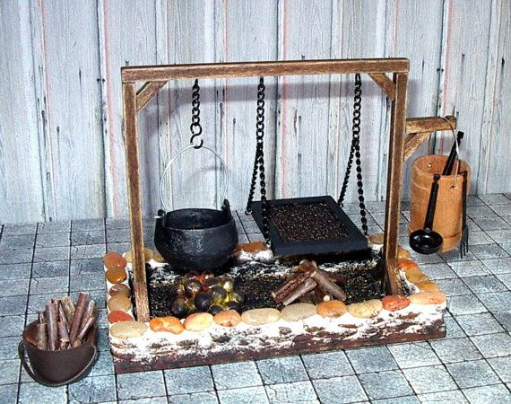 Fire Pit Hearth, Medieval Dollhouse Miniature, 1/12 Scale, Hand Made