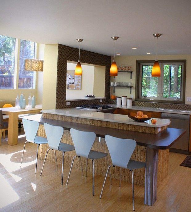 Кухня с барной стойкой — 75 фото красивых барных стоек ...