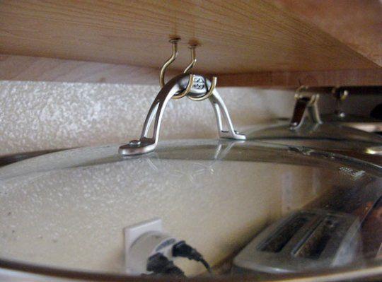 Smart Pot Lid Storage: Flying Saucers Under the Cabinets! — Reader Tip   The Kitchn