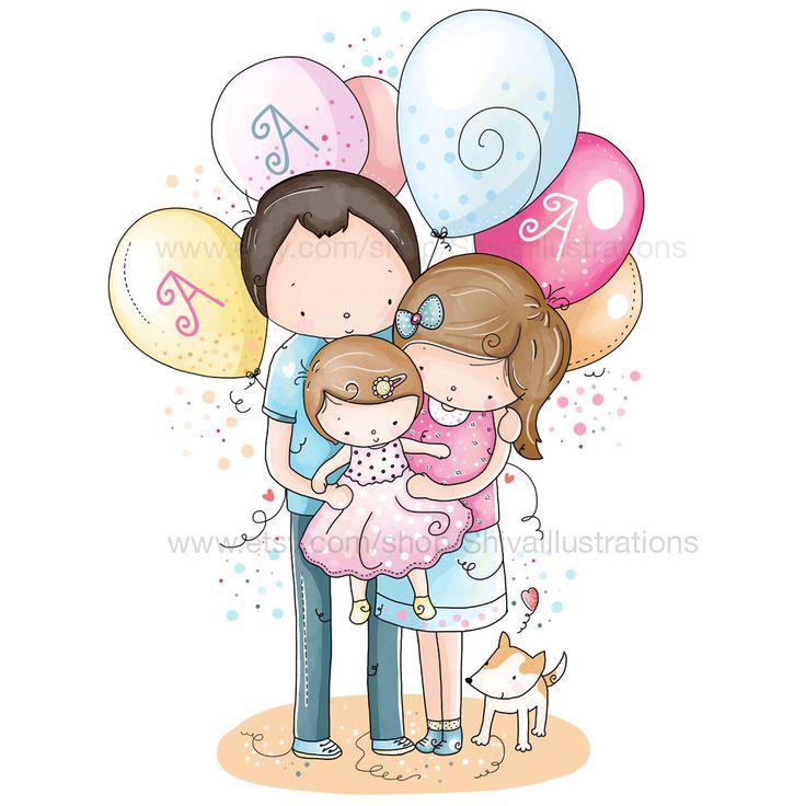 Bambini illustrazione - illustrazione di vivaio, famiglia, amore, nuovo nato, compleanno, mamma e bambino cucciolo di ShivaIllustrations su Etsy https://www.etsy.com/it/listing/207928524/bambini-illustrazione-illustrazione-di