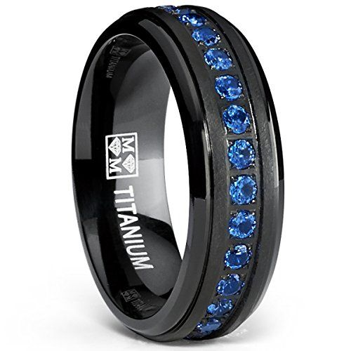 Black Titanium Men's Eternity Ring Band With Deep Blue Cubic Zirconia CZ ** Additional details @ http://www.amazon.com/gp/product/B00NMT8RGA/?tag=splendidjewelry07-20&pxy=170716163736