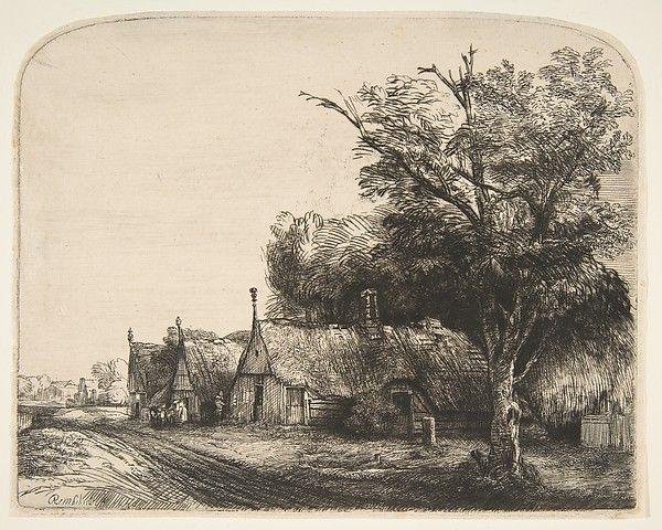 Landscape with Three Gabled Cottages Beside a Road 1650 #Rembrandt (1606-69) Look at use of mark making to create the illusion of texture of the thatched roofs, the trunk and foliage of the tree and the muddy track with cartwheel imprints. 365 years later still #Pretty fantastic!! www.drawandpaintonline.co.uk