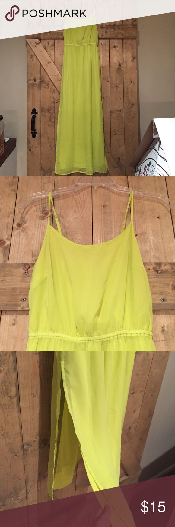 Neon Yellow Dress Perfect condition! Very bright highlighter color. Cinched waist and slits up to the knee on both sides. Adjustable straps. Old Navy Dresses Maxi