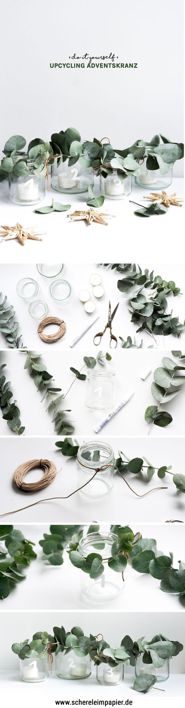 DIY Adventskranz – eine Upcycling Idee mit Altglas – schere leim papier – DIY, Upcycling, Deko, Wohnen & Pflanzen