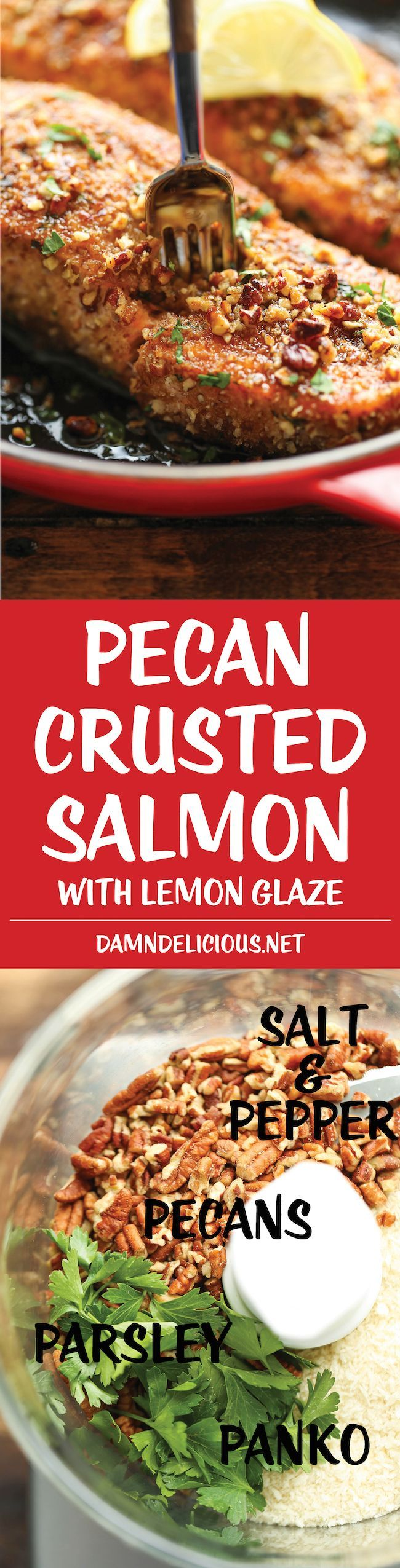 Pecan Crusted Salmon with Lemon Glaze - An epic crunchy pecan crust that comes together in just 5 min - easy peasy. And the lemon glaze is to die for!