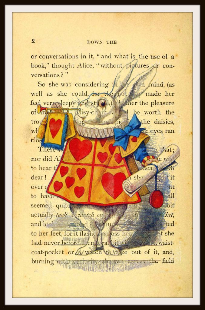 Alice in Wonderland White Rabbit Vintage Art Print #3 with Original Book Page Background, 8.5 x 11