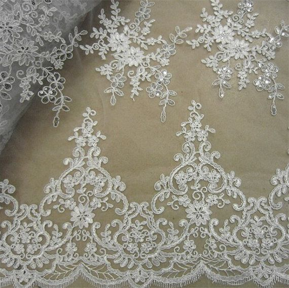 Wedding Lace Fabric, Embroidery Lace Fabric, Corded Lace Fabric, Beaded Lace Fabric, 51 inches Wide for Bridal Dress, Craft Making, 1/2 Yard