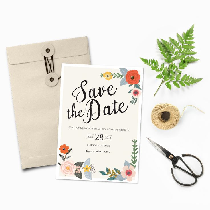 Save the Date with a floral and country theme #savethedate #australia #illustratedinvitations #countrywedding #florals #watercolours #thehellobureau #weddings
