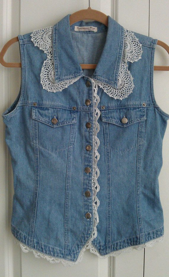 upcycled denim vest w/ vintage lace and mother by liveabundantly, $128.00