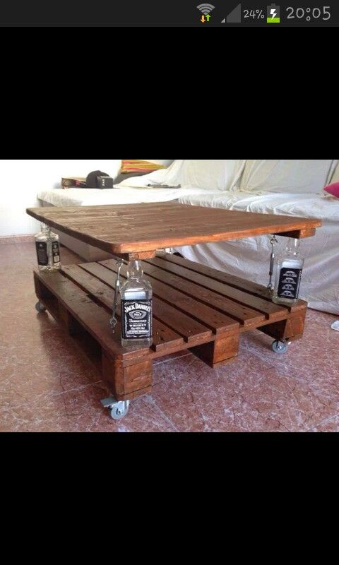Mesa Pallets. Swap Out The Jack Daniels Bottles For Something Like Vases.