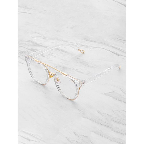 SheIn(sheinside) Metal Top Bar Clear Frame Glasses ($9) ❤ liked on Polyvore featuring accessories, eyewear, eyeglasses, white, clear eye glasses, metal glasses, metal eyeglasses, clear glasses and clear eyewear