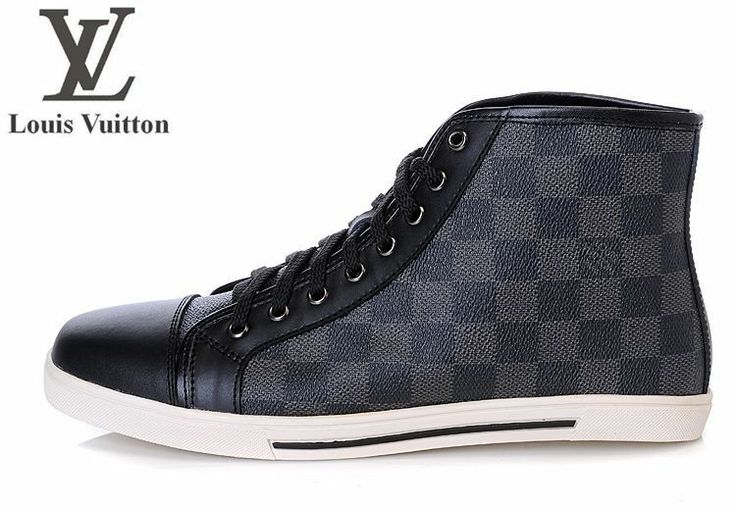 Louis Vuitton Mens High Top Shoes Grey Grid White Ground $75.99  http://www.queeruva.com