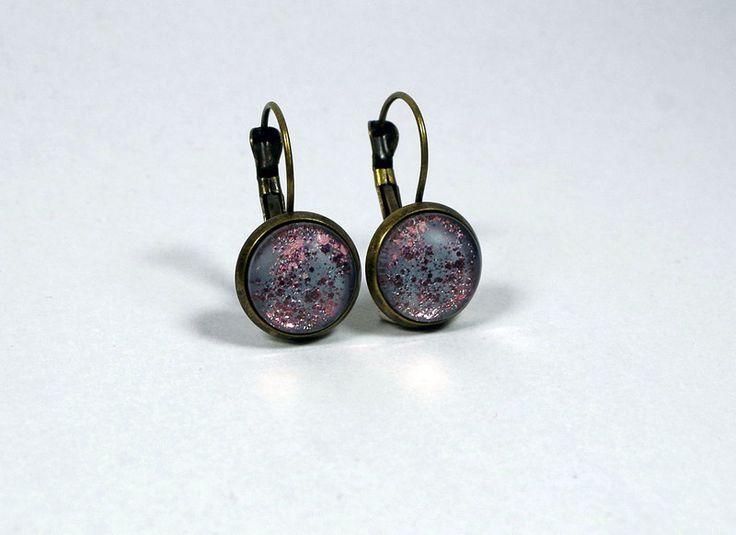 Cabochon-Ohrringe dunkelgrau-rosa von Tausendschön und Naseweis auf DaWanda.com