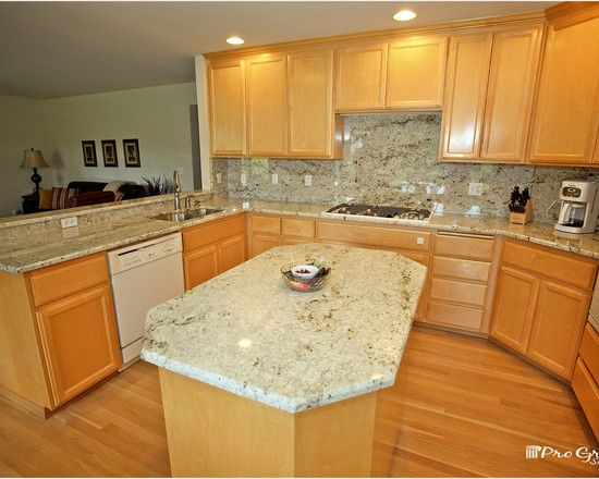 Colonial gold granite with maple cabinets google search for Maple slab countertop