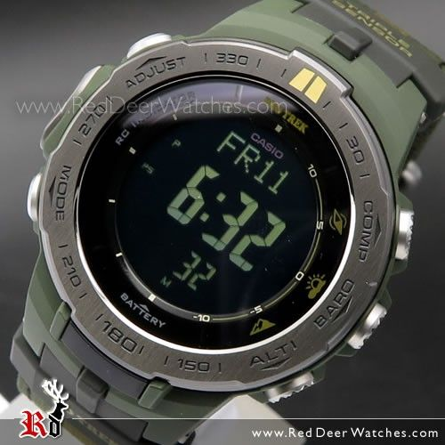 Casio ProTrek Solar MULTIBAND 6 Triple Sensor Sport Watch PRW-3100G-3, PRW3100G With Extra Strap