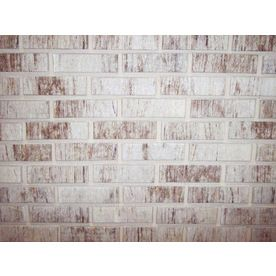 Whitewashed faux brick wall- Lowes: peel and stick Z-Brick Smooth Americana Liberty Gray Brick Veneer