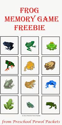 {FREE} Frog Memory Cards & Poppins Book Nook & Giveaway!! | Preschool Powol Packets | I'm sharing this Frog Memory Game {FREE} with you so you can join in the fun too!  Simply print two copies of the frog printable on cardstock, cut out the cards, and place them all upside down.  Take turns flipping over two cards at a time.  If you find a match, keep it!
