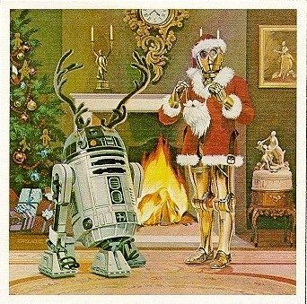 Star Wars Christmas, 1979.  I adore the antlers R2-D2 is wearing!!!  C-3P0 is the thinnest Santa Claus ever!