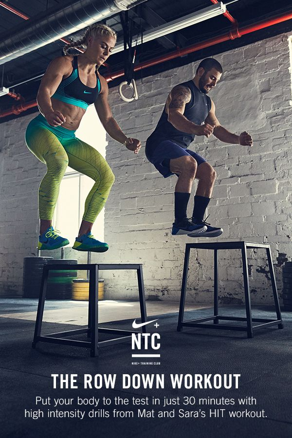 THE ROW DOWN WORKOUT // Mat Fraser and Sara Sigmundsdottir live, breathe and sweat HIT. Their new NTC workout features 30 minutes of high intensity drills inspired by their training to push you to your max potential. Get the workout and start building full body strength in the Nike+ Training Club app.