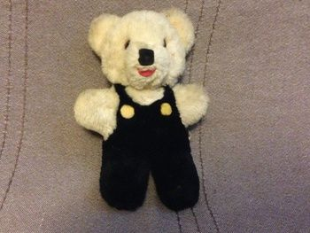 Shanghai Doll Factory Teddy Bear White Wool Plush 1950s 60s Glass Eyes   Collectors Weekly