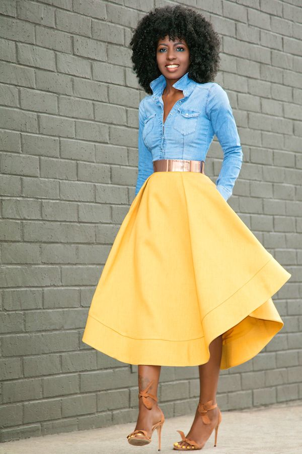 Style Pantry | Fitted Denim Shirt + Waves Midi Skirt                                                                                                                                                                                 Más