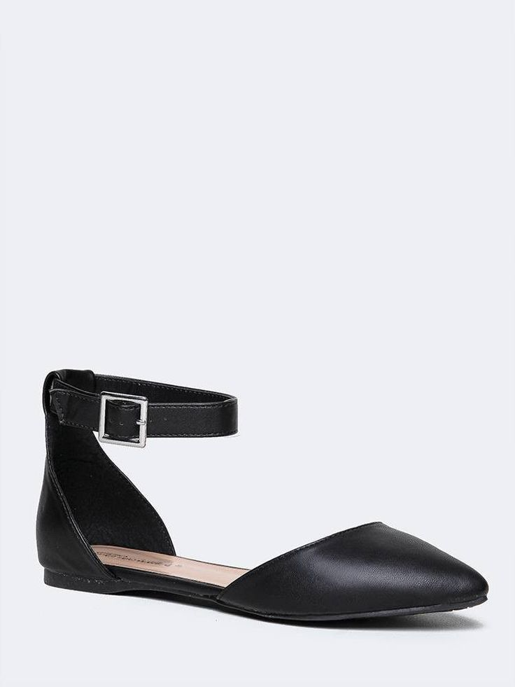 Elegant and effortlessly classy, these ankle strap flats are perfect for  anything from the office to a coffee date. - Pointed toe d'orsay flats have  a vegan ...