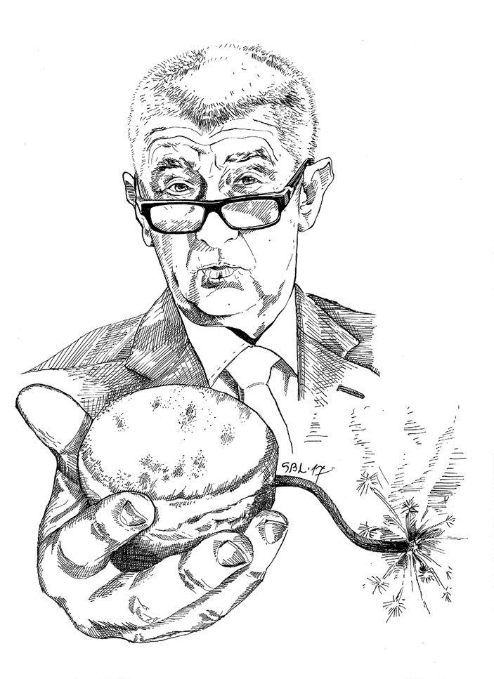 Andrej Babiš #Sorryjako Kresba tuší