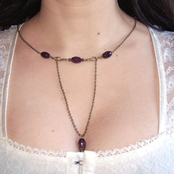 Garnet Necklace - Medieval  Jewelry - Victorian  Burgundy  necklace - Deep Red January Birthstone