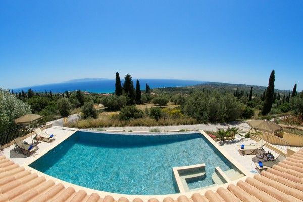 The Trapezaki area enjoys open panoramic views over the Ionian Sea towards the Greek island of Zante to the east and to a distant point westward across the bay, marked by the Liakas peninsula.