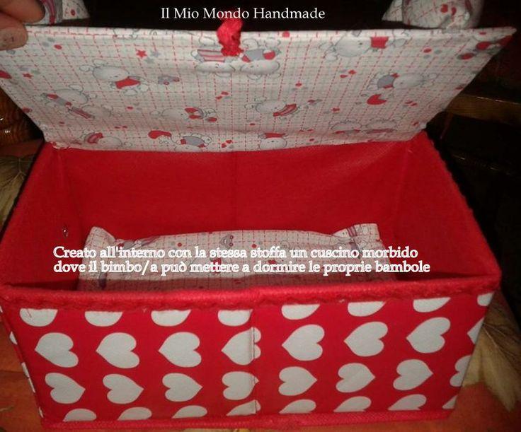 Scatola porta oggetti per bimbi, ho ricreato all'interno un cuscino imbottito, e all'esterno della scatola un divanetto a soli € 5.00