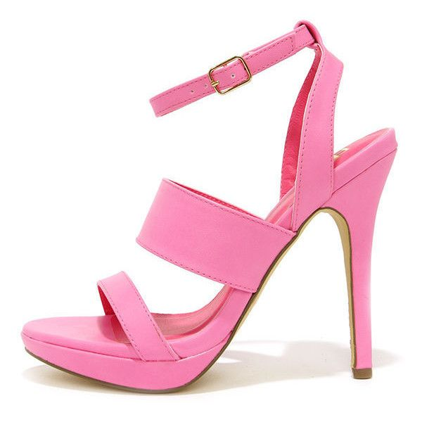 Patio Garden Hot Pink High Heel Sandals ($23) ❤ liked on Polyvore featuring shoes, sandals, heels, pink, high heels stilettos, heeled sandals, strap sandals, strappy sandals and peep toe sandals