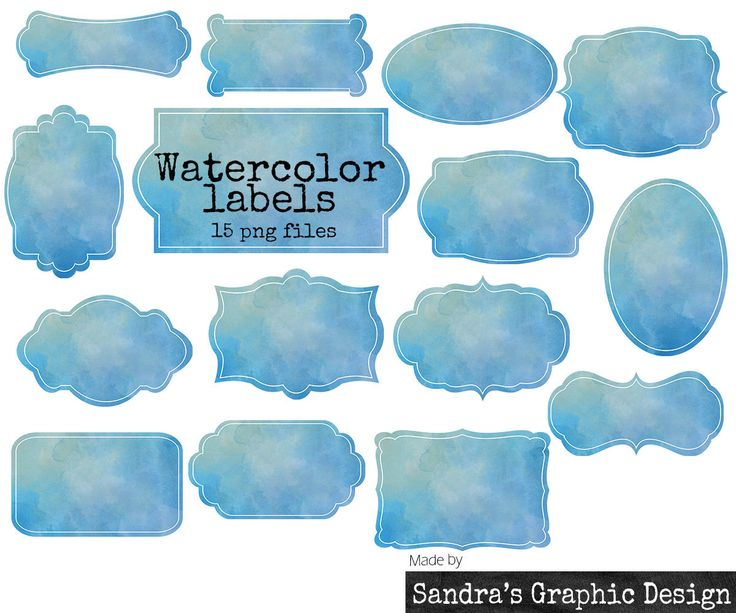New to SandraGraphicDesign on Etsy: 50% OFF Watercolor labels clipart with 15 blue watercolor labels in different shapes clipart 300 dpi PNG  files (5064) (2.00 USD)