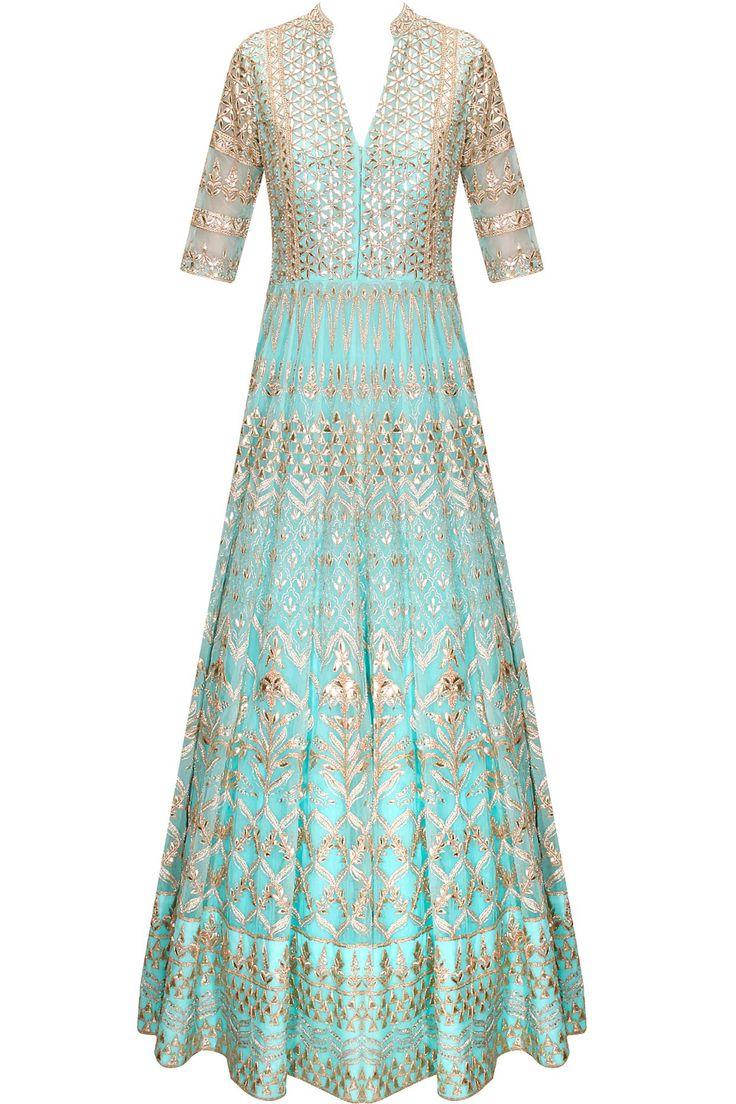 Powder blue gota patti embroidered anarkali set with matching lehenga by Anita Dongre. Shop now: http://www.perniaspopupshop.com/designers/anita-dongre. #lehenga #anitadongre #perniaspopupshop #shopnow #happyshopping