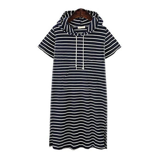 Women's Womens Plus Size Stripe Hoodie Short Sleeve Casual Loose Dress... ($9.99) ❤ liked on Polyvore featuring dresses, navy dress, white striped dress, short-sleeve dresses, plus size dresses and striped dress