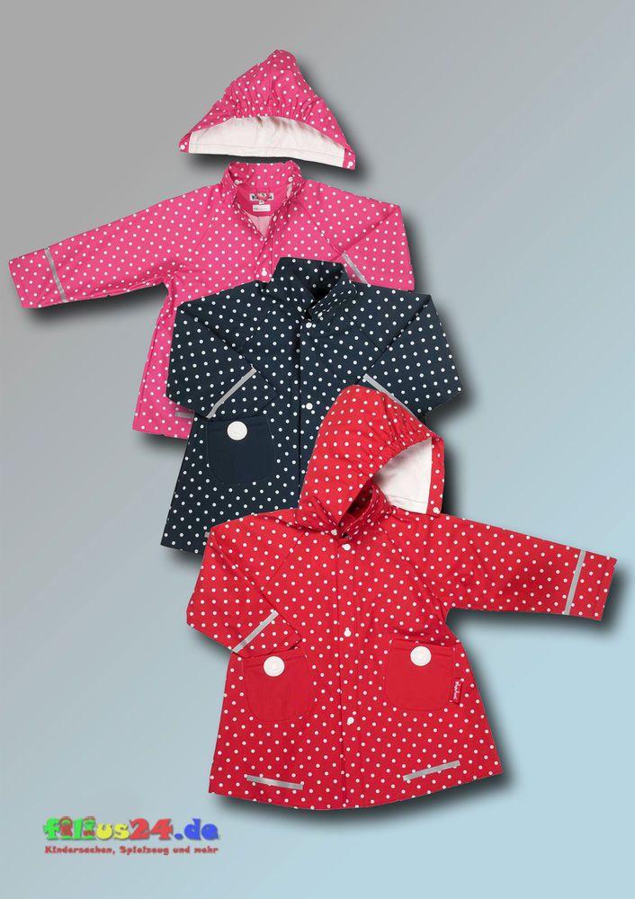 Niedlicher Playshoes Regen-Mantel Punkte mit Reflektoren und  abnehmbarer Kapuze, A-Form