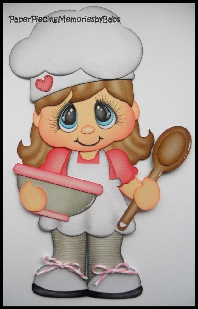 Premade Paper Pieced Girl Baker for Scrapbook Pages-by Babs