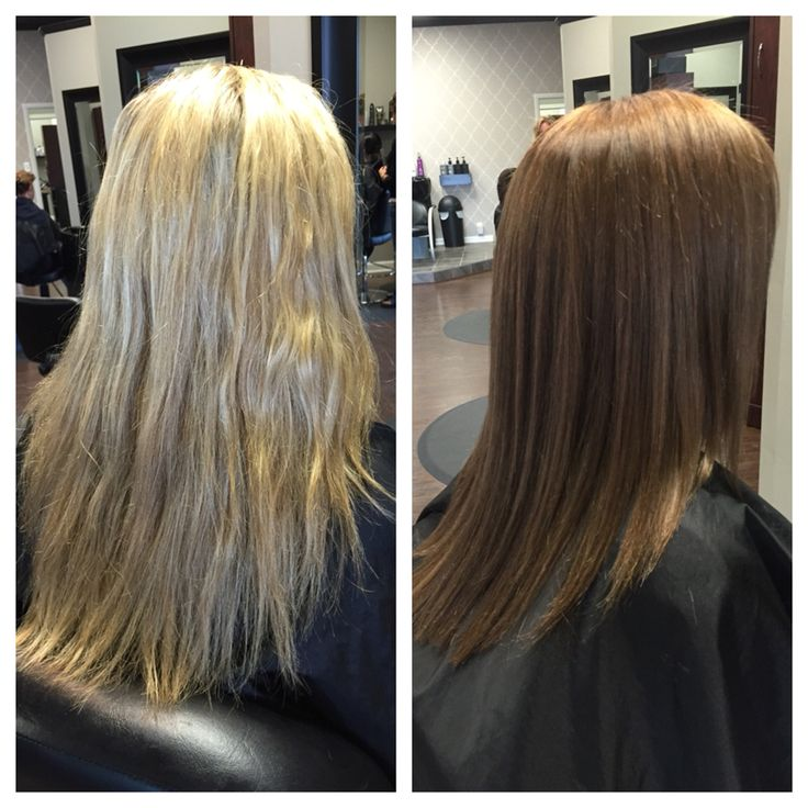 Blonde To Light Brown Before And After Fall Color Tint Back Our Stylist Work Pinterest