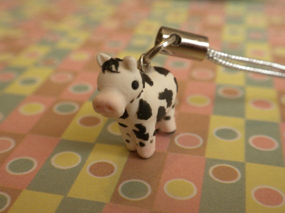 Polymer Clay Cow Charm by claypotater on Etsy